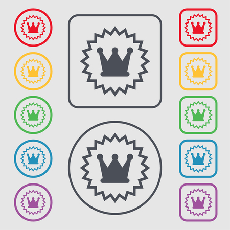 rown: ?rown icon sign. symbol on the Round and square buttons with frame. Vector illustration