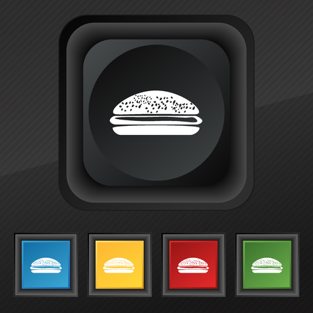 lunchroom: Burger, hamburger icon symbol. Set of five colorful, stylish buttons on black texture for your design. Vector illustration