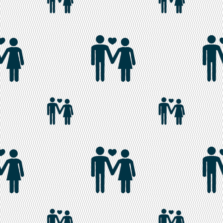 female symbol: couple in love icon sign. Seamless pattern with geometric texture. Vector illustration Illustration
