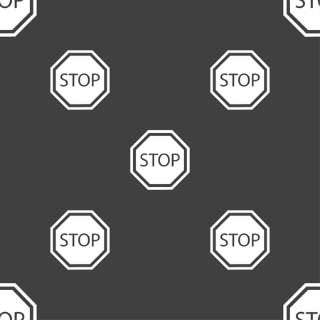 slow down: Stop icon sign. Seamless pattern on a gray background. Vector illustration