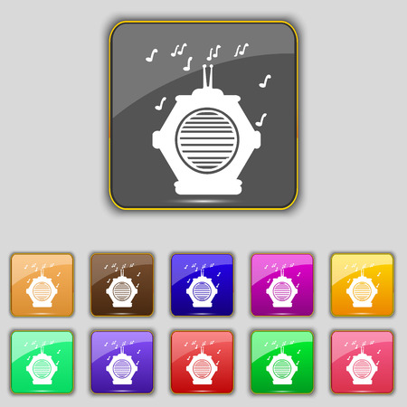 fm: old analog radio icon sign. Set with eleven colored buttons for your site. Vector illustration