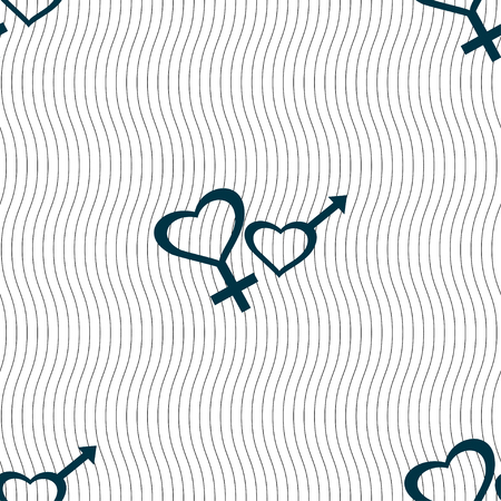 conjugal: Male and female icon sign. Seamless pattern with geometric texture. Vector illustration Illustration