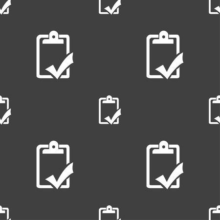 syllabus: Document grammar control, Test, work complete icon sign. Seamless pattern on a gray background. Vector illustration Illustration