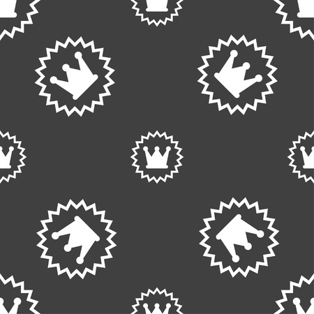 rown: ?rown icon sign. Seamless pattern on a gray background. Vector illustration Illustration