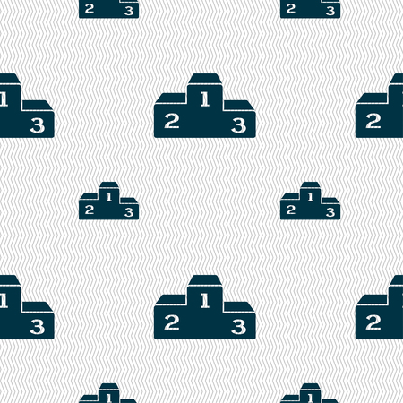 Podium icon sign. Seamless pattern with geometric texture. Vector illustration