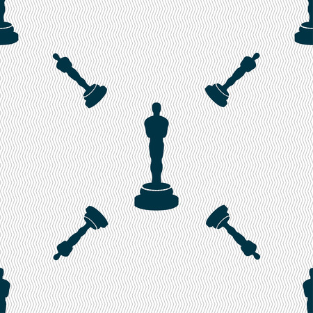 statuette: Oscar statuette icon sign. Seamless pattern with geometric texture. Vector illustration