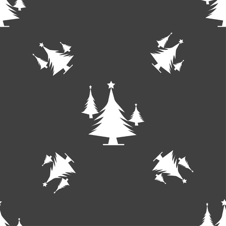 coniferous forest: coniferous forest, tree, fir-tree icon sign. Seamless pattern on a gray background. Vector illustration