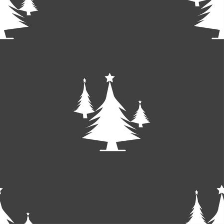 coniferous: coniferous forest, tree, fir-tree icon sign. Seamless pattern on a gray background. Vector illustration