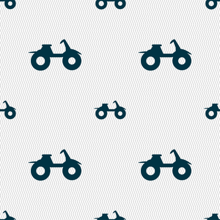 dirt bike: ATV icon sign. Seamless pattern with geometric texture. Vector illustration