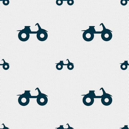 atv: ATV icon sign. Seamless pattern with geometric texture. Vector illustration
