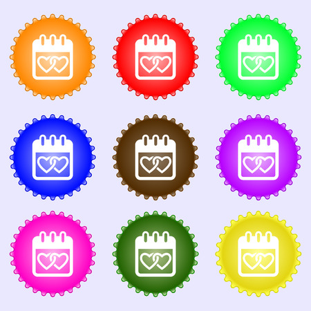 february 14: Calendar, heart, Valentines day, February 14, Love icon sign. Big set of colorful, diverse, high-quality buttons. Vector illustration