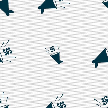 sos: sos web speaker icon sign. Seamless pattern with geometric texture. Vector illustration Illustration