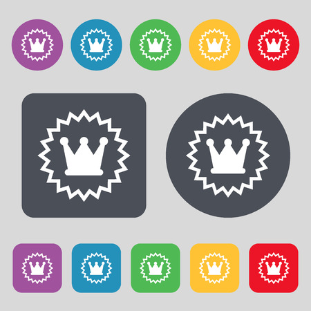 rown: ?rown icon sign. A set of 12 colored buttons. Flat design. Vector illustration