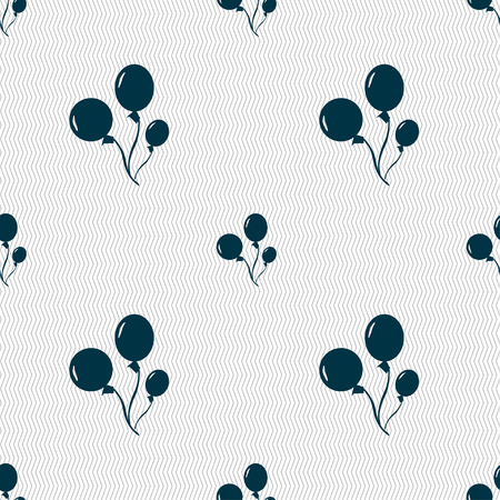 Balloons icon sign. Seamless pattern with geometric texture. Vector illustration Çizim