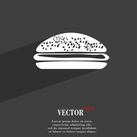 lunchroom: Burger, hamburger symbol Flat modern web design with long shadow and space for your text. Vector illustration
