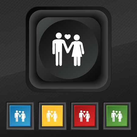 stylish couple: couple in love icon symbol. Set of five colorful, stylish buttons on black texture for your design. Vector illustration