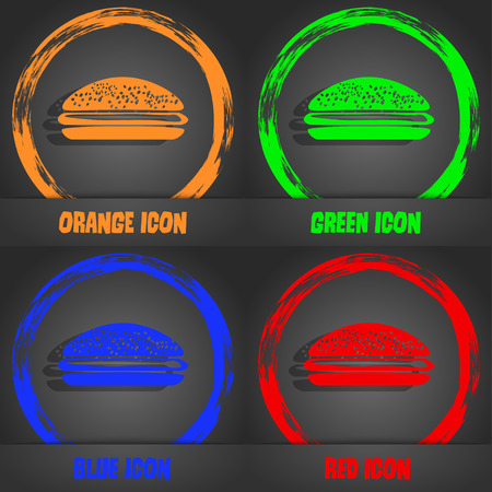 lunchroom: Burger, hamburger icon. Fashionable modern style. In the orange, green, blue, red design. Vector illustration