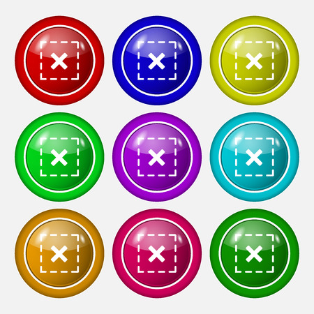 calculus: Cross in square icon sign. symbol on nine round colourful buttons. Vector illustration Illustration