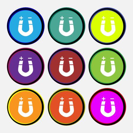 magnetismo: magnete a ferro di cavallo, il magnetismo, magnetizzare, attrazione icona segno. Nove multi colorato pulsanti rotondi. illustrazione di vettore
