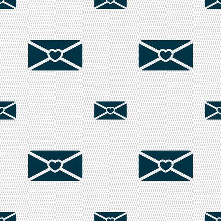 love letter: carta de amor icono de la muestra. Patrón sin fisuras con textura geométrica. ilustración vectorial Vectores