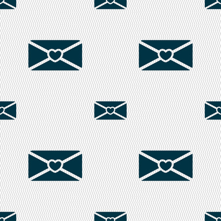 love letter: love letter icon sign. Seamless pattern with geometric texture. Vector illustration Illustration