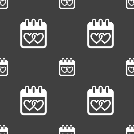 february 14: Calendar, heart, Valentines day, February 14, Love icon sign. Seamless pattern on a gray background. Vector illustration Illustration