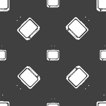 tvset: TV icon sign. Seamless pattern on a gray background. Vector illustration Illustration