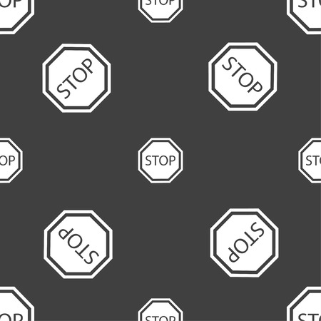 drive ticket: Stop icon sign. Seamless pattern on a gray background. Vector illustration