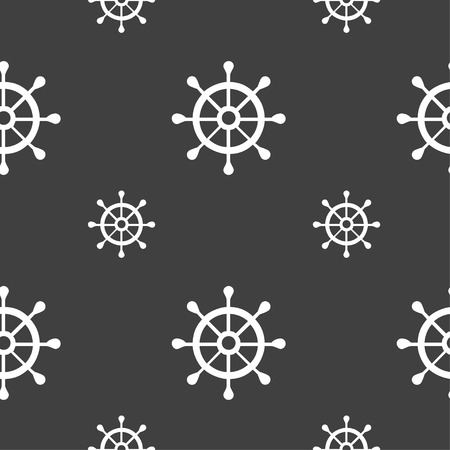 schooner: ship helm icon sign. Seamless pattern on a gray background. Vector illustration