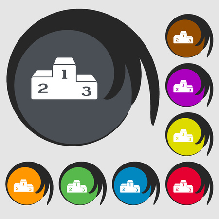 place to shine: Podium sign icon. Symbols on eight colored buttons. Vector illustration