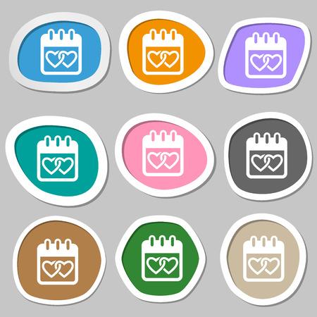 february 14: Calendar, heart, Valentines day, February 14, Love symbols. Multicolored paper stickers. Vector illustration Illustration