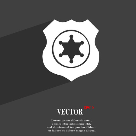 deputy: Sheriff, star symbol Flat modern web design with long shadow and space for your text. Vector illustration