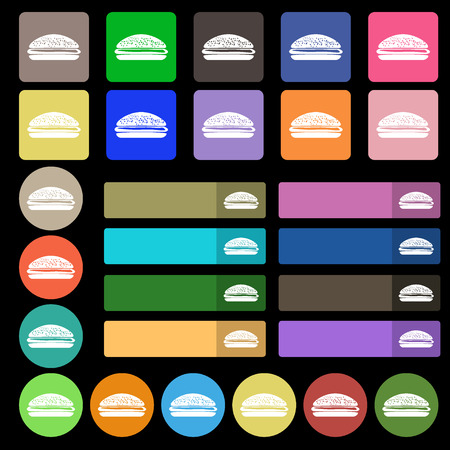 lunchroom: Burger, hamburger icon sign. Set from twenty seven multicolored flat buttons. Vector illustration