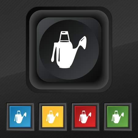 seeding: Watering can icon symbol. Set of five colorful, stylish buttons on black texture for your design. Vector illustration