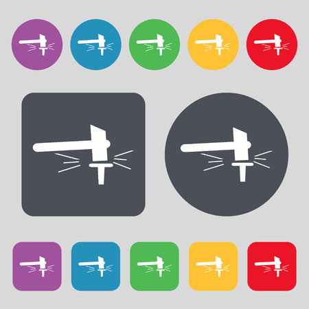 smithy: The smithy. Forge and stithy, blacksmith icon sign. A set of 12 colored buttons. Flat design. Vector illustration
