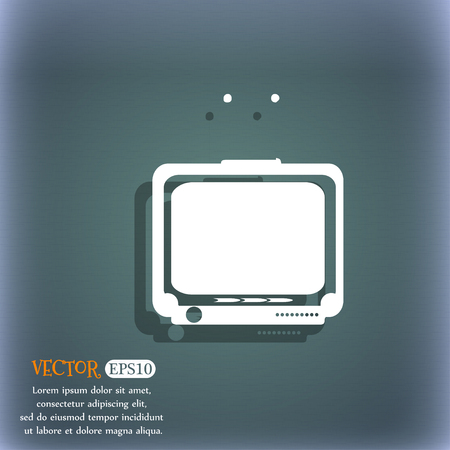 tvset: TV icon. On the blue-green abstract background with shadow and space for your text. Vector illustration