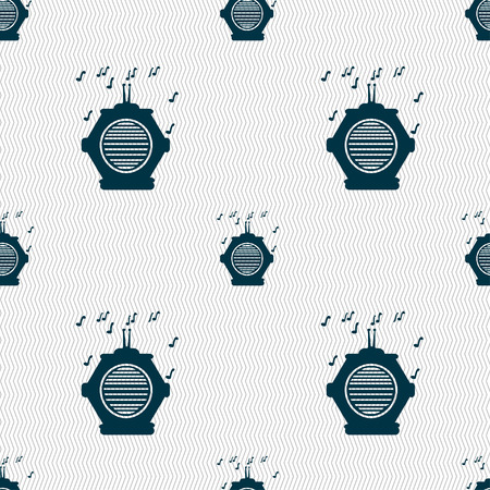 fm: old analog radio icon sign. Seamless pattern with geometric texture. Vector illustration