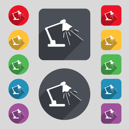 lamplight: Reading-lamp icon sign. A set of 12 colored buttons and a long shadow. Flat design. Vector illustration