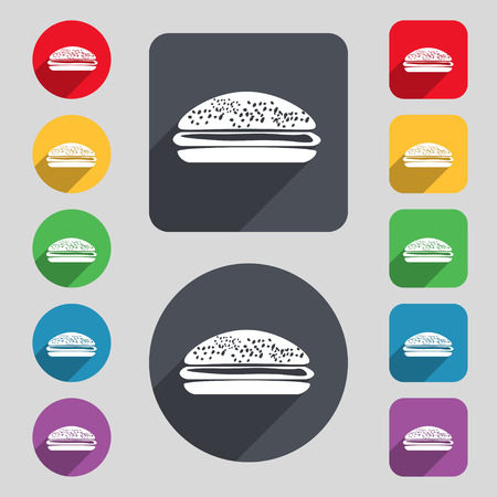 lunchroom: Burger, hamburger icon sign. A set of 12 colored buttons and a long shadow. Flat design. Vector illustration Illustration