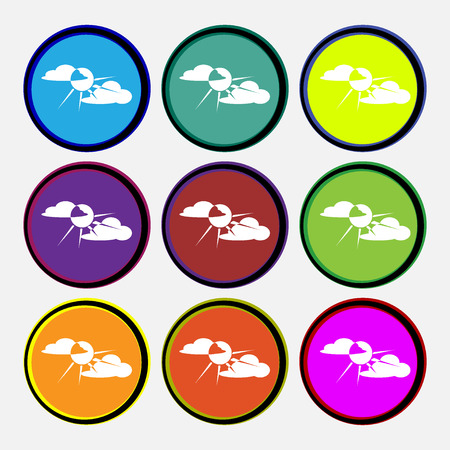 behind: sun behind cloud icon sign. Nine multi colored round buttons. Vector illustration