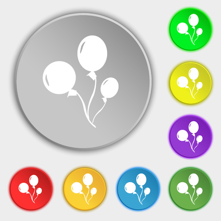 Balloons icon sign. Symbol on eight flat buttons. Vector illustration