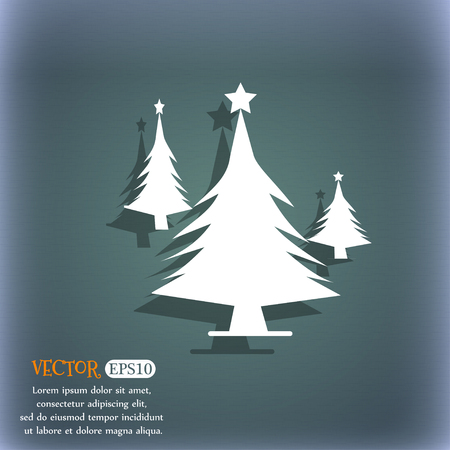 coniferous forest: coniferous forest, tree, fir-tree icon. On the blue-green abstract background with shadow and space for your text. Vector illustration Vectores
