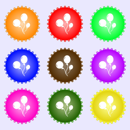 aerostatics: Balloons icon sign. Big set of colorful, diverse, high-quality buttons. Vector illustration