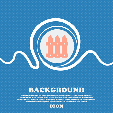 bucolic: Fence icon sign. Blue and white abstract background flecked with space for text and your design. Vector illustration