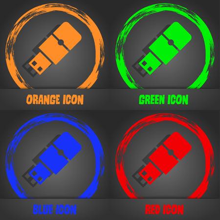 sumbol: USB flash icon. Fashionable modern style. In the orange, green, blue, red design. Vector illustration