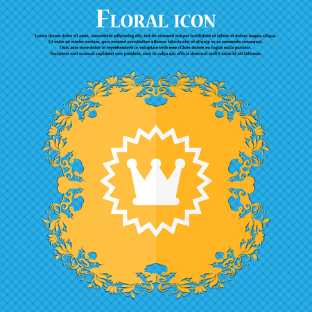 rown: ?rown icon. Floral flat design on a blue abstract background with place for your text. Vector illustration
