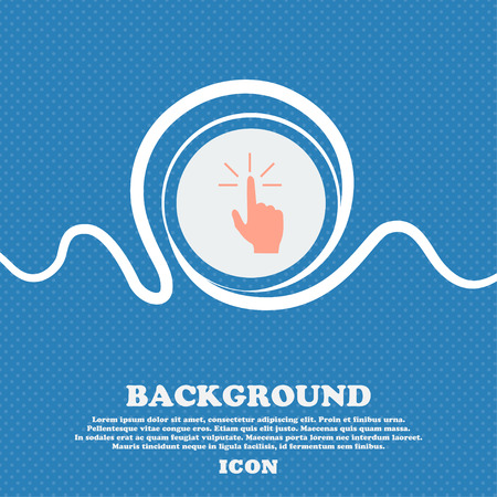 Click here hand icon sign. Blue and white abstract background flecked with space for text and your design. Vector illustration
