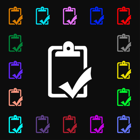 syllabus: Document grammar control, Test, work complete icon sign. Lots of colorful symbols for your design. Vector illustration Illustration