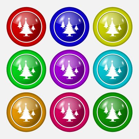 coniferous forest: bosques de con�feras, �rbol, �rbol de abeto icono de la muestra. s�mbolo de botones coloridos y nueve redondos. ilustraci�n vectorial