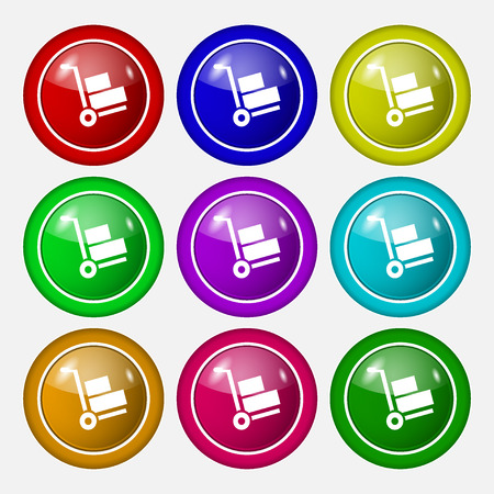 hydraulic platform: Loader icon sign. symbol on nine round colourful buttons. Vector illustration
